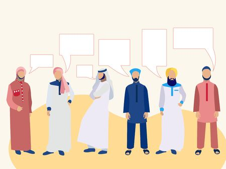 Set of six men, a group of Arabs in national dress. In minimalist style. Cartoon flat raster Illustration text bubble thought Imagens