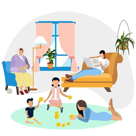 Family environment. Family resting at home. Interior room. In minimalist style. Flat isometric raster Imagens