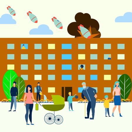 The threat of atomic war. Residential yard, families walk with children. Bombs fly on the city. Can use for web banner. In minimalist style. Flat isometric raster illustration Imagens