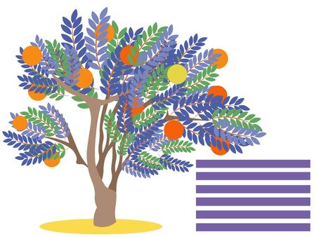 Orange tree with fruit. Blank for banner. In minimalist style. Flat isometric raster Imagens