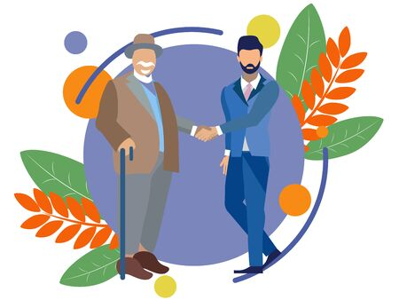 An old man shakes hands with a young guy. Old age and youth. In minimalist style. Flat isometric raster Imagens