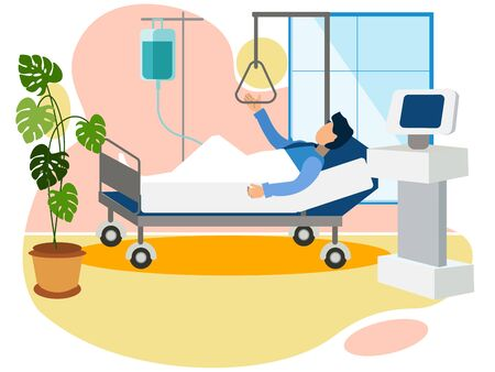 Chamber in the hospital, the man is in the hospital trauma department. In minimalist style. Flat isometric raster
