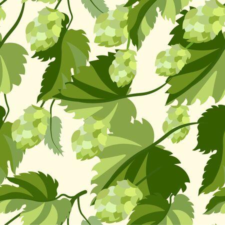 Plant hop. Seamless background. In minimalist style. Flat isometric raster