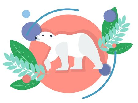 Polar animal, white bear. In minimalist style. Flat isometric raster