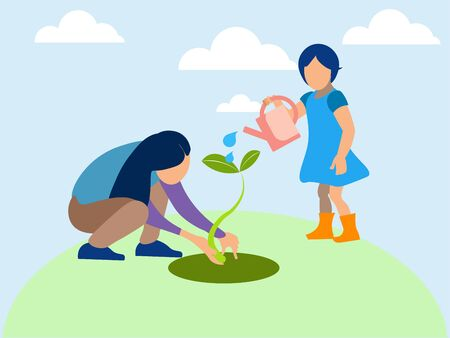 Mom and daughter planted a plant, agronomy. In minimalist style. Flat isometric raster Imagens