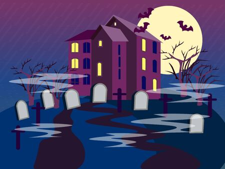 The building of the cemetery. Graves on a dark background. In minimalist style. Flat isometric raster Imagens