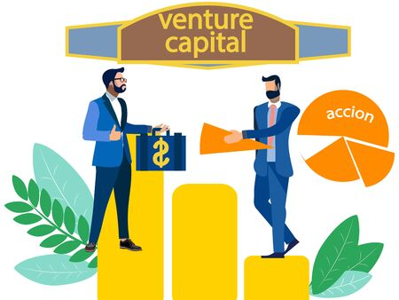 venture capital, sale of shares. In minimalist style. Flat isometric raster