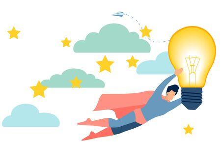 An office worker, a superhero, has a good idea. In minimalist style. Cartoon flat raster