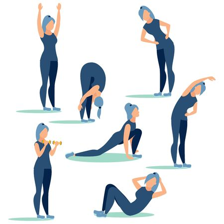 Step by step workout, sport. In minimalist style. Cartoon flat raster Stock Photo