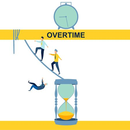 Overtime, disambiguation. Abstract concept, businessmen moving from an hourglass. In minimalist style. Cartoon flat raster Imagens
