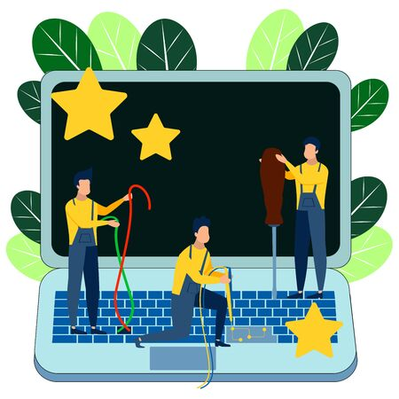 Computer breakdown. Service staff, laptop repair. In minimalist style. Cartoon flat raster