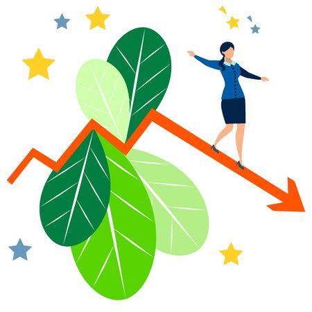 Falling indicators. Business Lady is losing revenue. In minimalist style. Cartoon flat raster