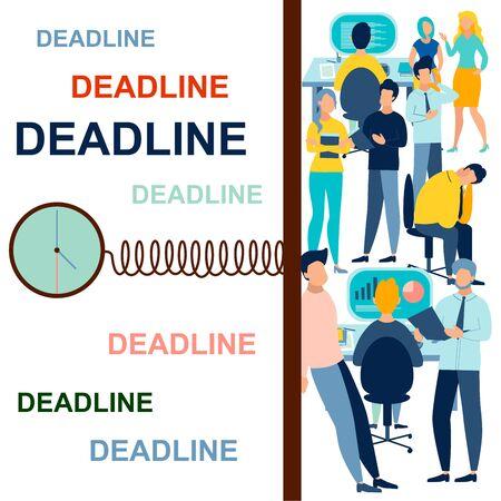 Deadline. In minimalist style. Cartoon flat raster