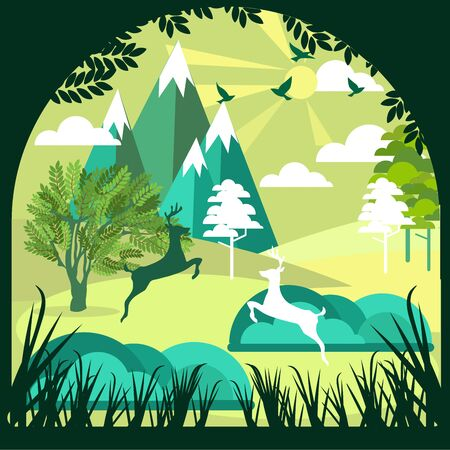 Paper art, cut and craft style of Green forest and deers wildlife with nature background layers as Saving the world with ecology and environment conservation concept. Banco de Imagens