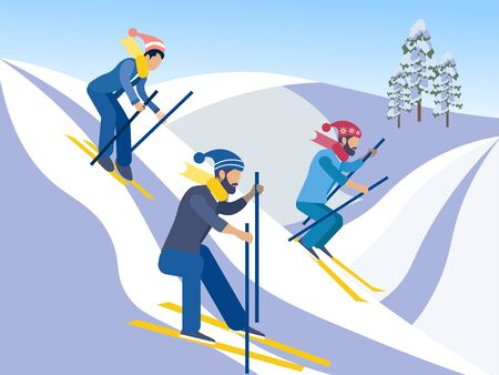 Skiing. Friends go down from the mountains on skis. In minimalist style. Cartoon flat raster Archivio Fotografico - 128741695