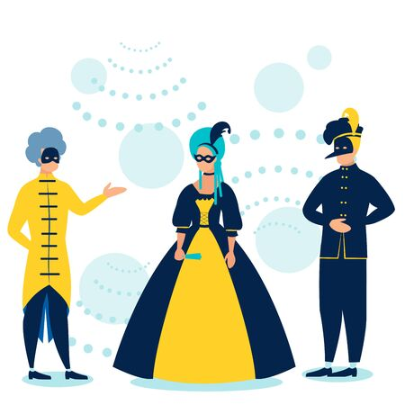 Masquerade. People in costumes at the dance. In minimalist style. Cartoon flat raster Imagens