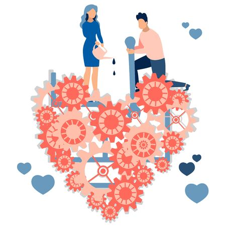 A loving couple, the former repairing a broken heart. Work for family relationships. In minimalist style. Cartoon flat raster