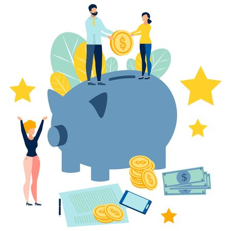 Replenishment of the family budget. People add savings to the piggy bank. In minimalist style. Cartoon flat raster