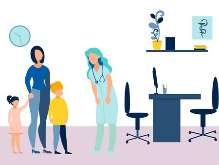Mother took the children to the reception to the pediatrician. Theme of medicine and health. In minimalist style. Cartoon flat raster