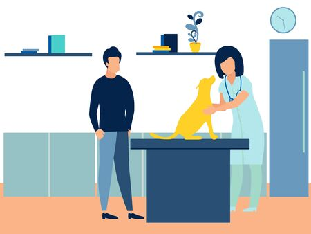 The owner brought the dog, a pet to the reception to the vet. Subject medicine and health. In minimalist style. Cartoon flat raster Imagens