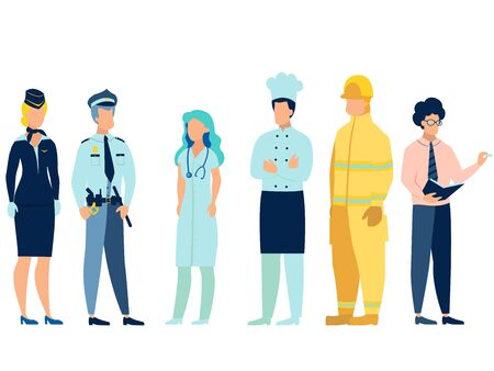 People of different professions. Doctor, fireman, teacher, stewardess, cook and policeman in uniform. In minimalist style. Cartoon flat raster