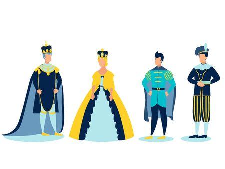 The Royal Family. In minimalist style. Cartoon flat raster Imagens
