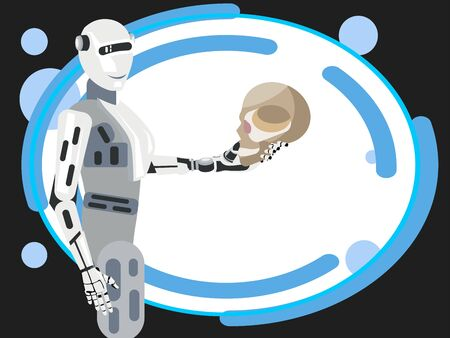 The future of mankind, the robot holds the human skull. In minimalist style Cartoon flat raster