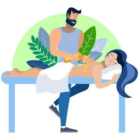 The process of massage, the girl on the couch. In minimalist style Cartoon flat raster