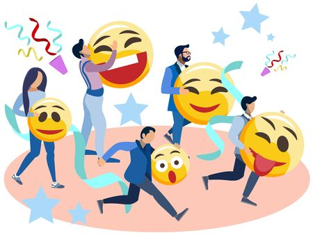 People run with smiles in their hands. In minimalist style Cartoon flat raster