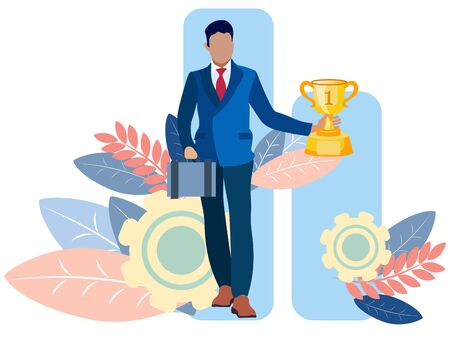Businessman winner goes with a cup in his hand. In minimalist style Cartoon flat raster