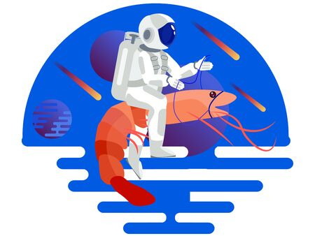 Astronaut riding a shrimp. In minimalist style Cartoon flat raster