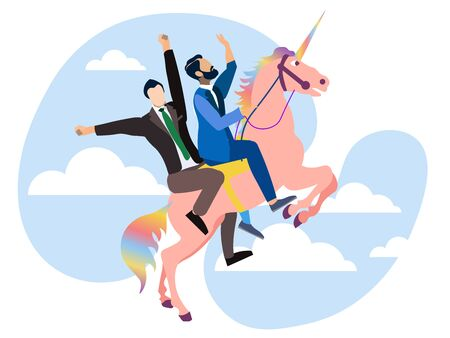 Homosexual men riding on a unicorn rainbow colors. In minimalist style Cartoon flat raster Stock Photo