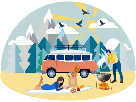 Family weekend, picnic in nature. In minimalist style Cartoon flat raster