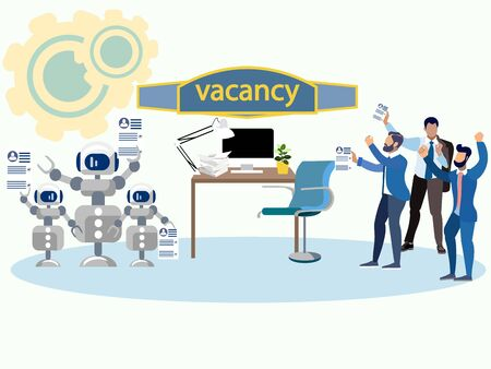 Robots and humans claim to the vacant seat. Fight for work. In minimalist style Cartoon flat raster Imagens