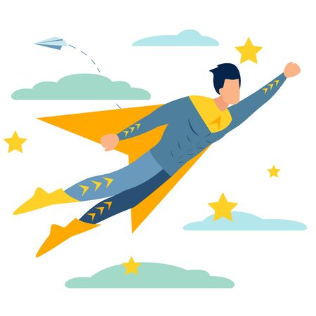 Male superhero to the rescue. In minimalist style Cartoon flat raster