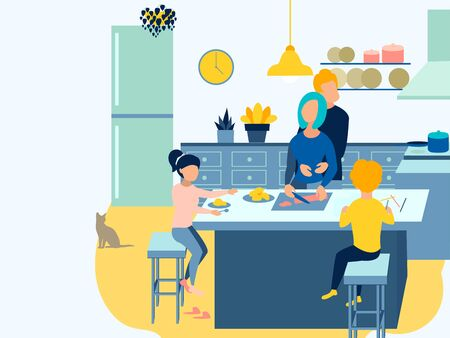 Home furnishings, breakfast. The family prepares food. In minimalist style Cartoon flat raster