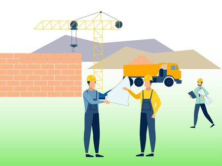 Construction, working environment. Builders at work. In minimalist style Cartoon flat raster Imagens