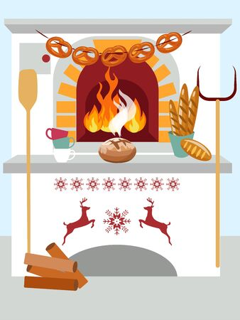 Celebratory domestic cooking bread in the oven. In minimalist style Cartoon flat raster