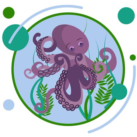 Octopus underwater animal. In minimalist style Cartoon flat raster