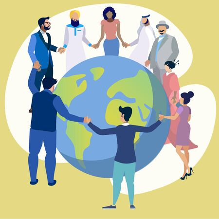 Friendship of the peoples of the entire planet. People dance in a circle around the Earth. In minimalist style Cartoon flat raster