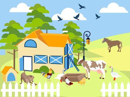 Animali da fattoria mucca, maiale, uccello, edificio, cavallo, agronomia. In stile minimalista. Raster piatto dei cartoni animati
