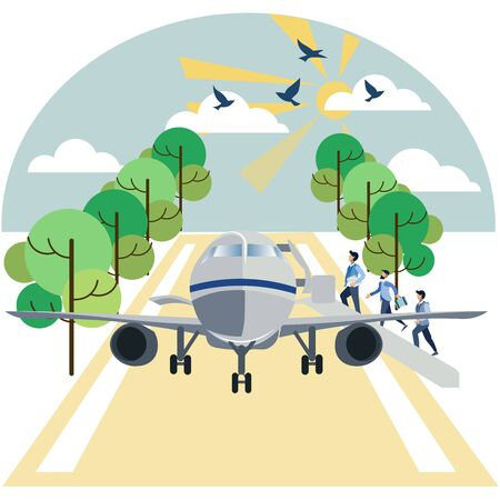 Landing on aircraft passengers. In minimalist style Cartoon flat raster Imagens