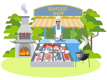 Seafood shop, food. In minimalist style Cartoon flat raster