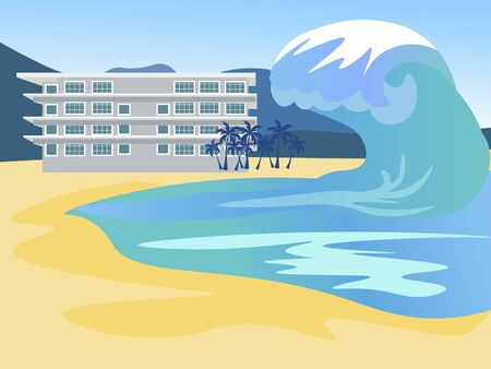 Tsunami covers the city. Global flood. In minimalist style Cartoon flat vector Ilustração