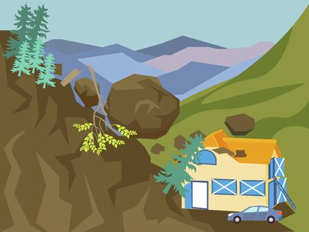 Landslide. The building is falling asleep with mountain, earth. In minimalist style Cartoon flat vector