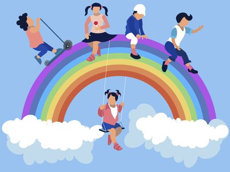 Kindergarten, children are sitting on a rainbow. In minimalist style Cartoon flat vector