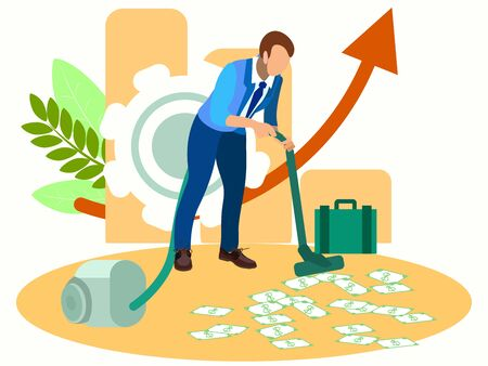 Man vacuuming money. In minimalist style Cartoon flat raster Imagens