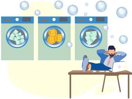 Money laundering. A man in dry cleaning erases dolar and bitcoins. In minimalist style Cartoon flat raster