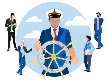 Captain at the helm, head of finance. In minimalist style Cartoon flat raster