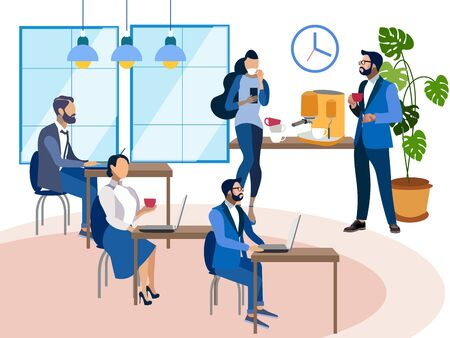 Office staff at the workplace, the interior space. In minimalist style Cartoon flat raster